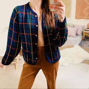 True vintage classic plaid button cardigan sweater